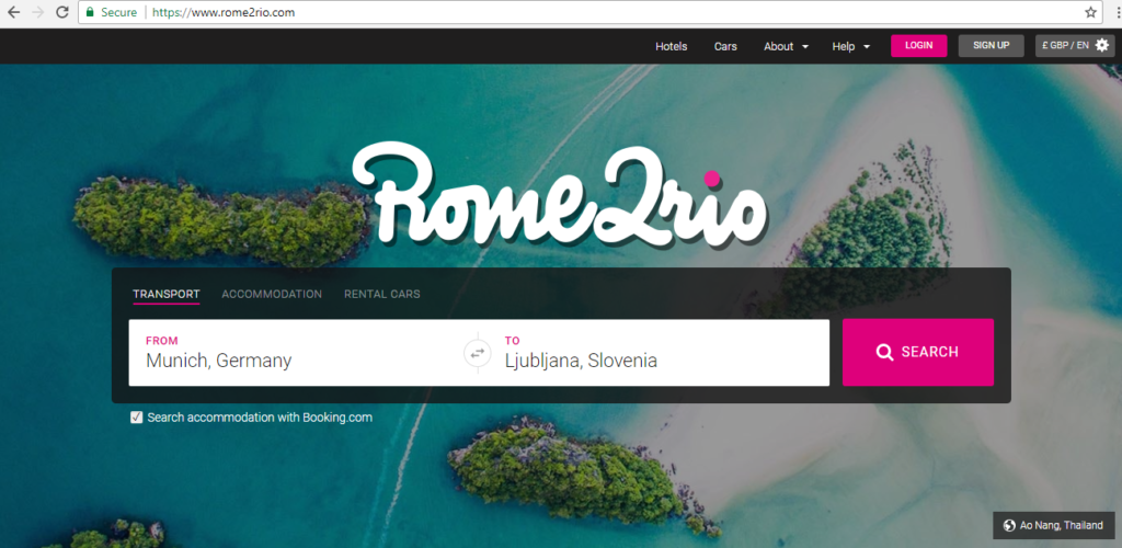 Rome2rio first page